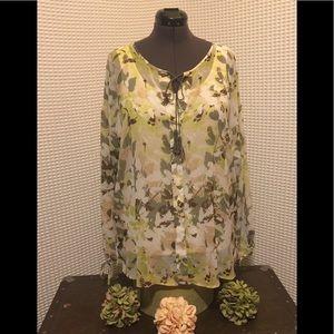 Lane Bryant long sleeved sheer patterned top.