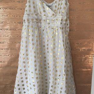 H&M metallic gold polka dot print white dress