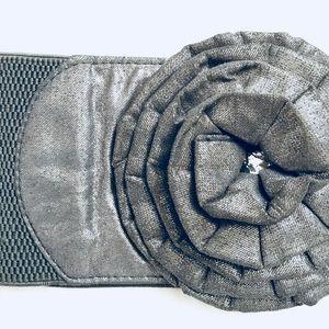 silver / grey waist flower belt