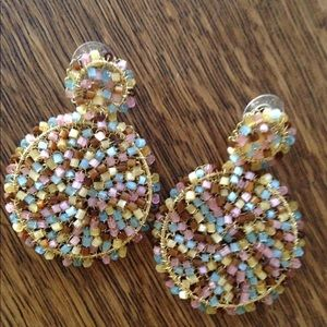 Anthropologie earrings in gold wire and pastel
