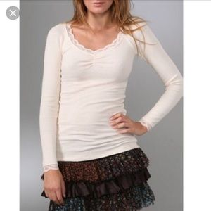 Free People Veba Lace Trim Thermal in white size S