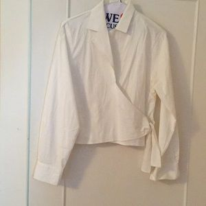 Real comfort cropped cotton white shirt size s