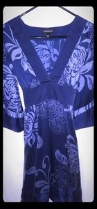BEBE blue patterned dress