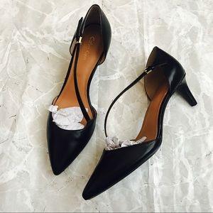 [Calvin Klein] Black Leather Strap Heel
