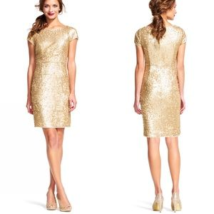 5804571dea12d1 Adrianna Papell Dresses - Adrianna Papell Gold Sequin Short Sleeve Dress