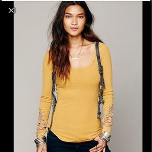 Free People Synergy Cuff Thermal Golden Mustard