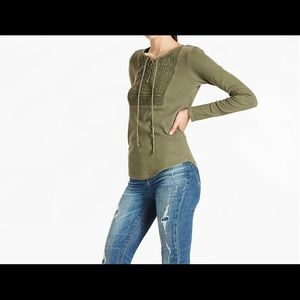 Lucky Brand Lace Up Bib Thermal Blouse