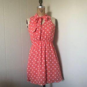 Peachy Pink Polka Dot Dress with neck tie sz S
