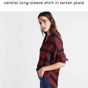 central long-sleeve shirt in tartan plaid