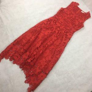 Kimilily Womens Elegant Red Floral Swing Dress SM