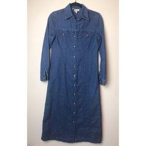 Talbots Long Button Front Denim Shirt Dress - 4 P