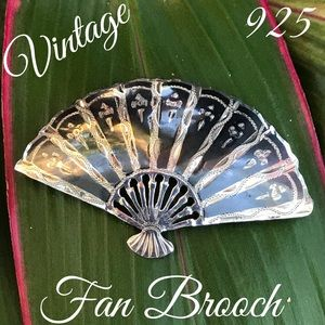 Vintage 925 Black Enamel SIAM Fan Brooch/ Pin