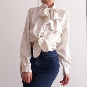 Vintage 90s' white satin bow tie blouse by runaway