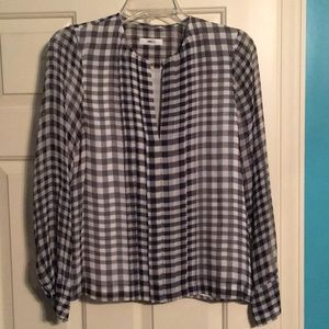 JCrew Sheer small plaid blouse with placket