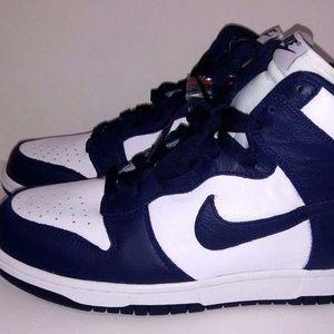 New Nike Dunk Hi Men's Size 10 White Midnight Navy