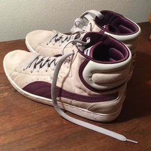 Puma gray and purple suede high-top sneakers