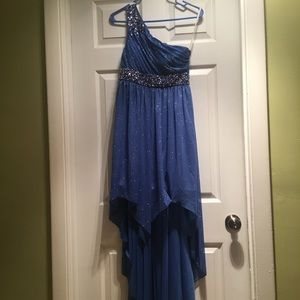 Royal Blue Sparkly Formal High Low Dress!!