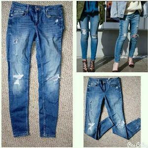 Zara skinny distressed slim fit jeans -6