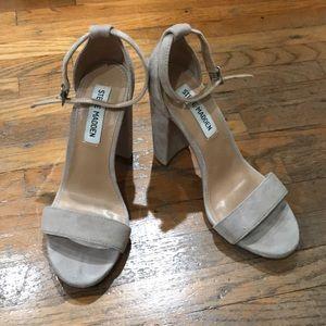 Steve Madden suede taupe block heel. 6.5