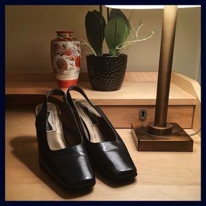 Vintage Square Toe Sling Back Heels