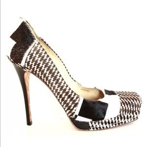 LAMB Black White Juva Calf Hair And Leather Pumps