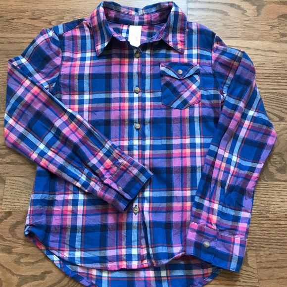 Cat and Jack Other - Cat and Jack girls size 7-8 plaid button up shirt