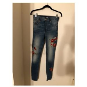 Floral Print High Waisted Jeans
