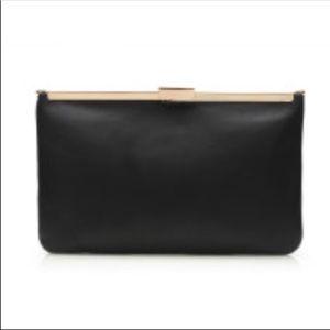 J.Crew Black Genuine Leather Clutch Pouch Handbag
