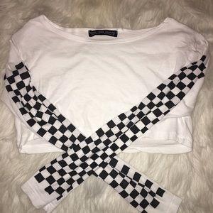 White Checkered Crop Top
