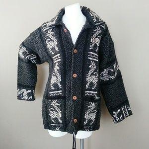 Alpaca Ethnic Print Wool Wooden Button Down Jacket