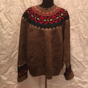 Gap hand Knit fair isle wool Crewneck sweater