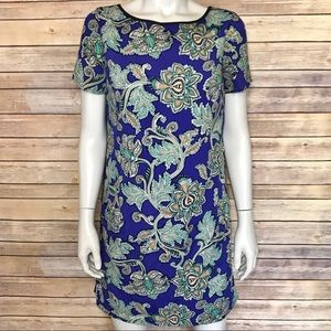 {LOFT} blue floral paisley dress