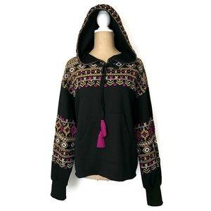 Anthropologie KAS Hoodie Embroidered Tribal Tassel