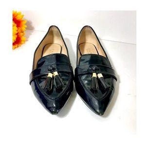 Zara navy leather patent pointy loafers 😎