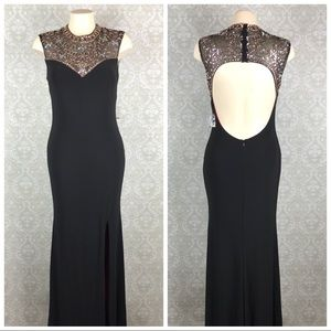 Betsy & Adam Black Embellished Formal Dress