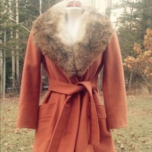 VINTAGE Rabbit Fur Collar ILGWU Coat Jacket S