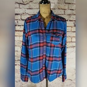 Abercrombie Fitch Blue Red Plaid Flannel Shirt L