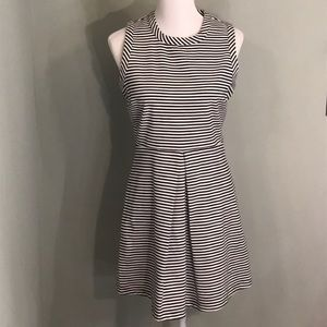 Madewell Navy stripe sleeveless skater dress