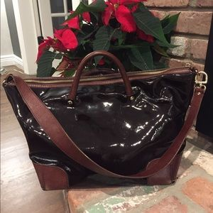 Kate Spade Black Patent and Brown Leather Tote