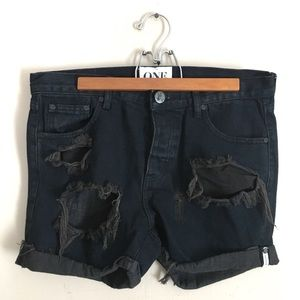 One Teaspoon Black Bandit Shorts