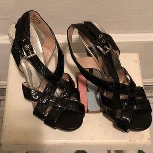 Michael Kors Snake Skin OpenToe Heels. Size 8