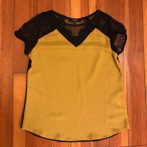 Madame Mustard Blouse with Lace Shoulders