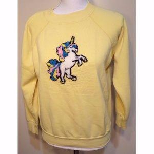 VINTAGE Yellow Latch Hooked Unicorn Sweatshirt