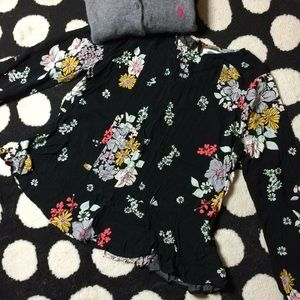 Old Navy Floral Peplum 3/4  Length Sleeve Blouse