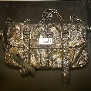 TYLIE MALIBU metallic snake print on  black suede