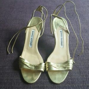 Manolo Blahnik Leather Gold Tie Up Heels