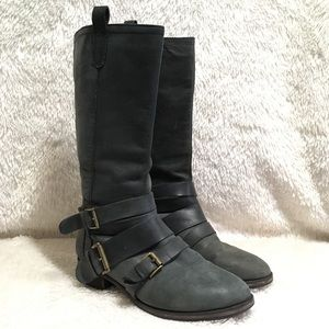 Joie 100% Genuine Leather Gray Boots Buckle 37