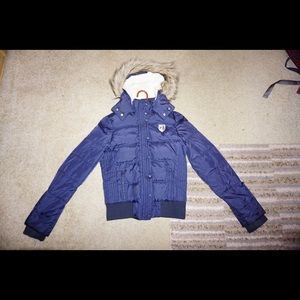 Navy American Eagle Puffer Jacket