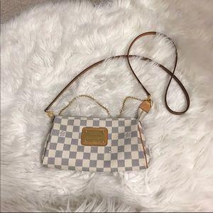 Damier azur canvas clutch cross body bag