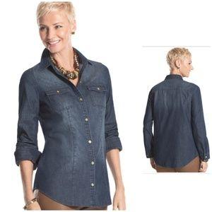 Chico's jean shirt long sleeves darkwash M 1